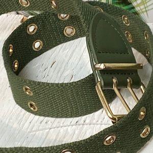 Dark Green w/Gold Grommets Belt